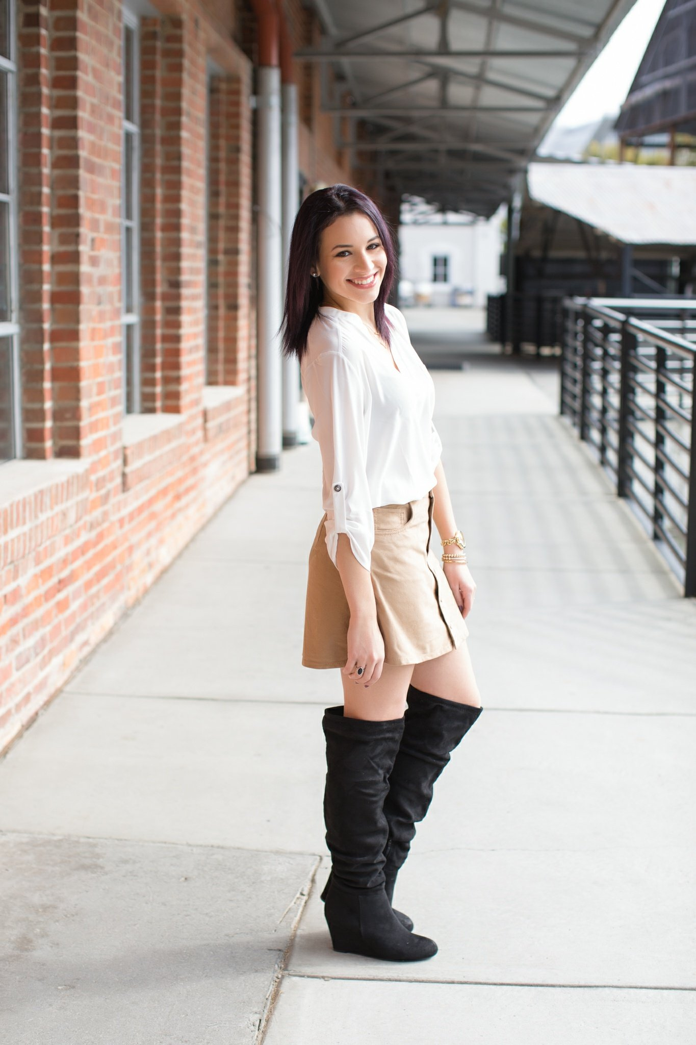 suede skirt and the knee boots