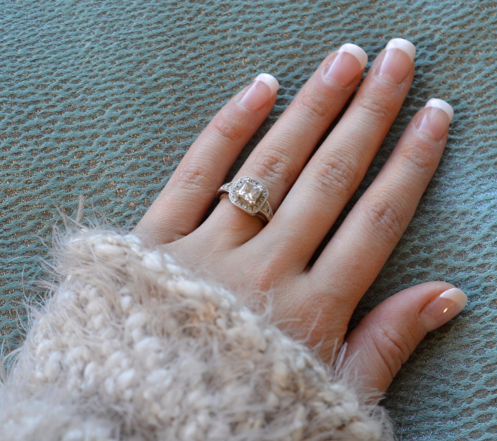engagement ring french manicure