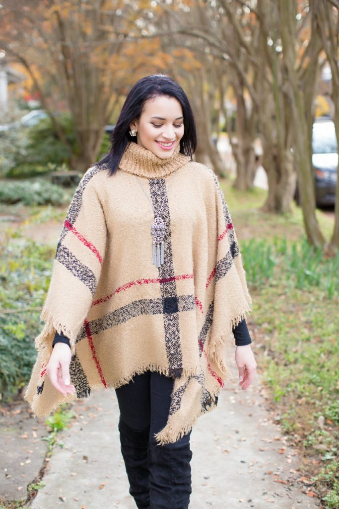 plaid poncho and over the knee boots
