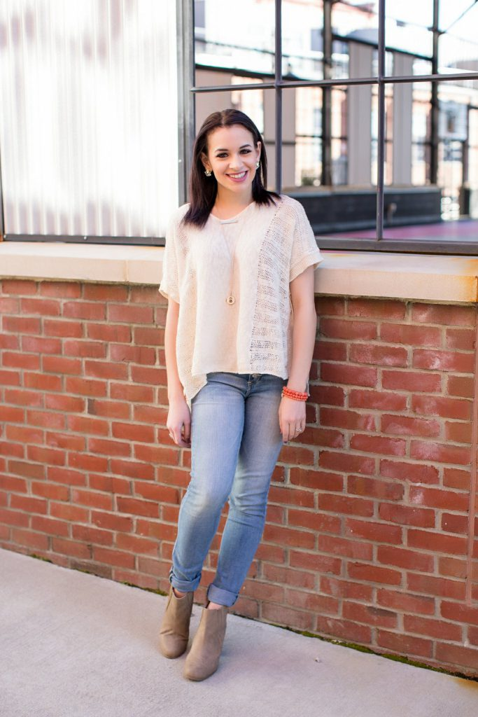 high waisted light wash denim, express jeans, tan booties, forever 21 top, white sweater, owl necklace, etsy necklace, NC blogger, downtown Durham