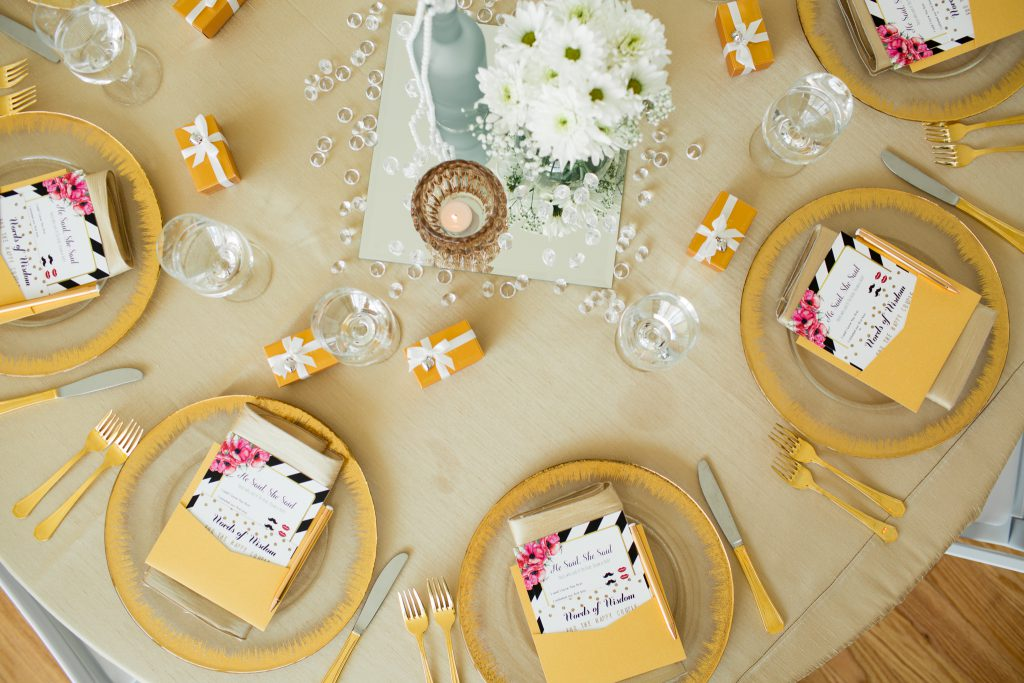 bridal shower, bridal shower ideas, gold themed bridal shower, gold place setting, bridal decor, wedding centerpiece, wedding decorations, spring wedding, Raleigh NC, the glass box Raleigh