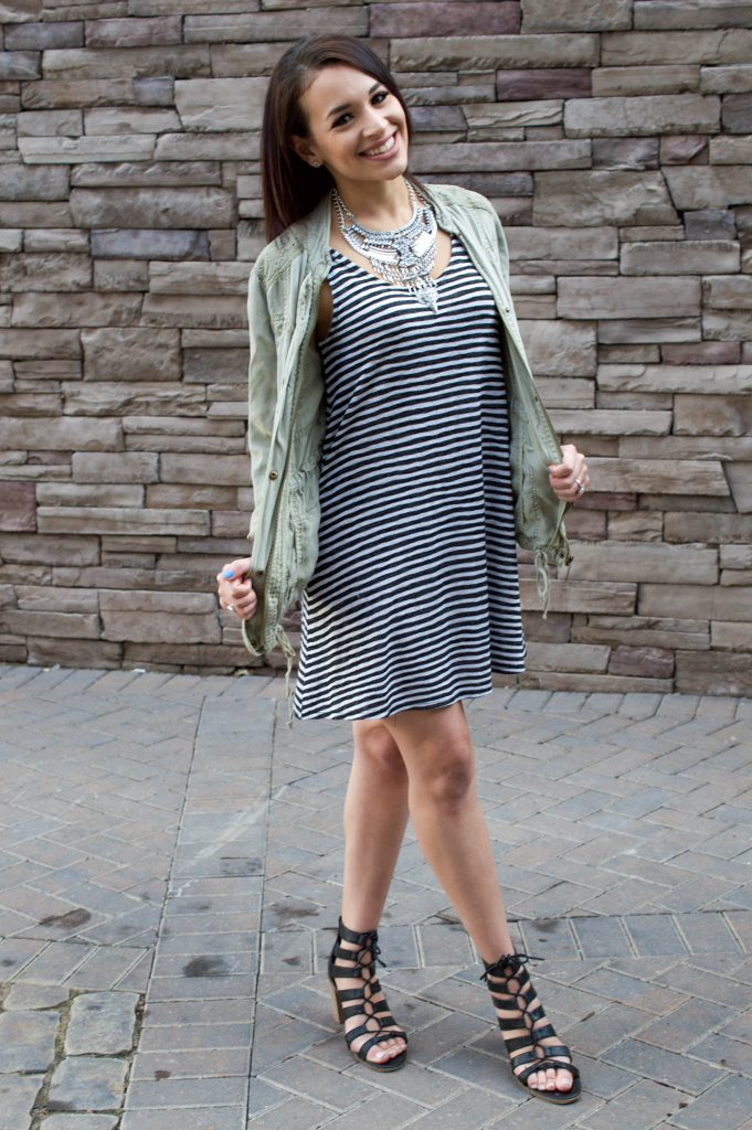 olive utility jacket, striped dress, statement necklace, silver statement necklace, happiness boutique, black lace up wedges, Raleigh NC, summer outfit, black and white striped outfit
