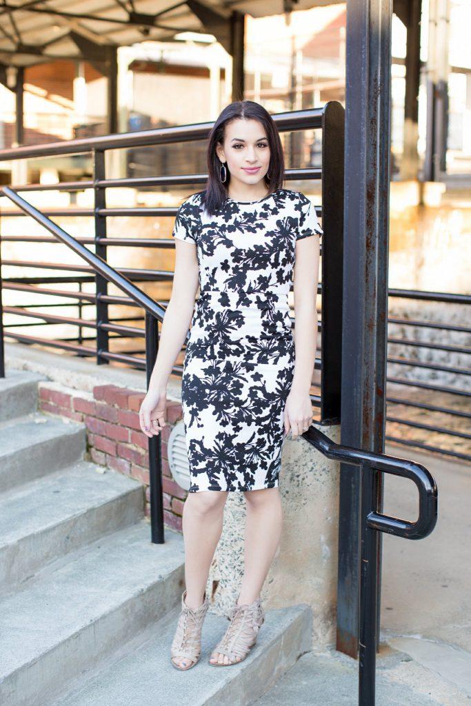 printed black and white dress, forever 21 midi dress, midi dress cutout, kendra scott, kendra scott earrings, bodycon dress, Durham NC, NC blogger