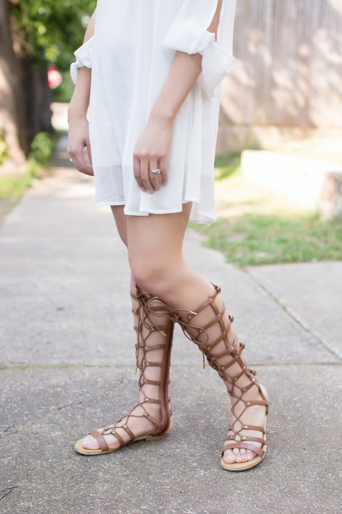white dress, rehearsal dinner dress, bridal dress, shein, shein dress, gladiator sandals, lace up sandals, gold coin necklace, Raleigh NC