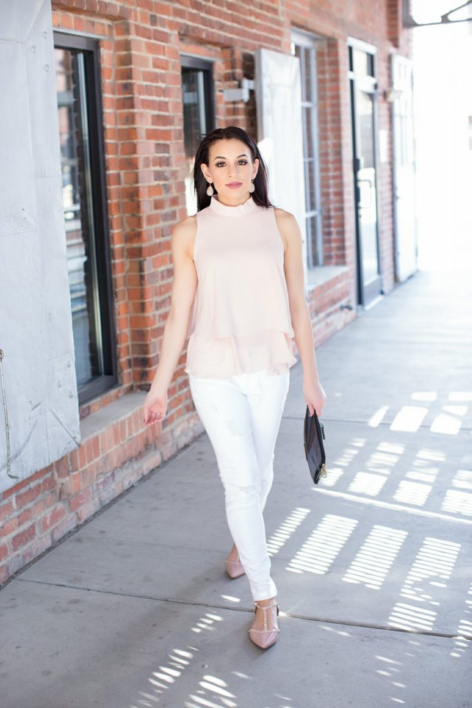blush top, high neck top, steve madden clutch, white jeans, express white denim, halogen flats, blush halogen flats, wantable earrings