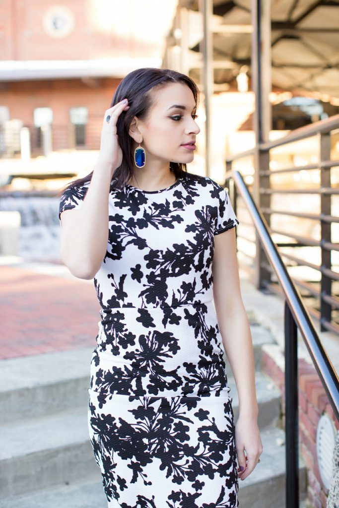 printed black and white dress, forever 21 midi dress, midi dress cutout, kendra scott, kendra scott earrings, bodycon dress, Durham NC, NC blogger
