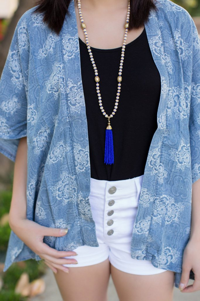 blue and white outfit, fourth of July outfit, 4th of July, white shorts outfit, denim outfit, summer kimono, target tassel necklace, black espadrilles, lace up espadrilles, printed kimono, floral kimono, express shorts, high waisted express shorts