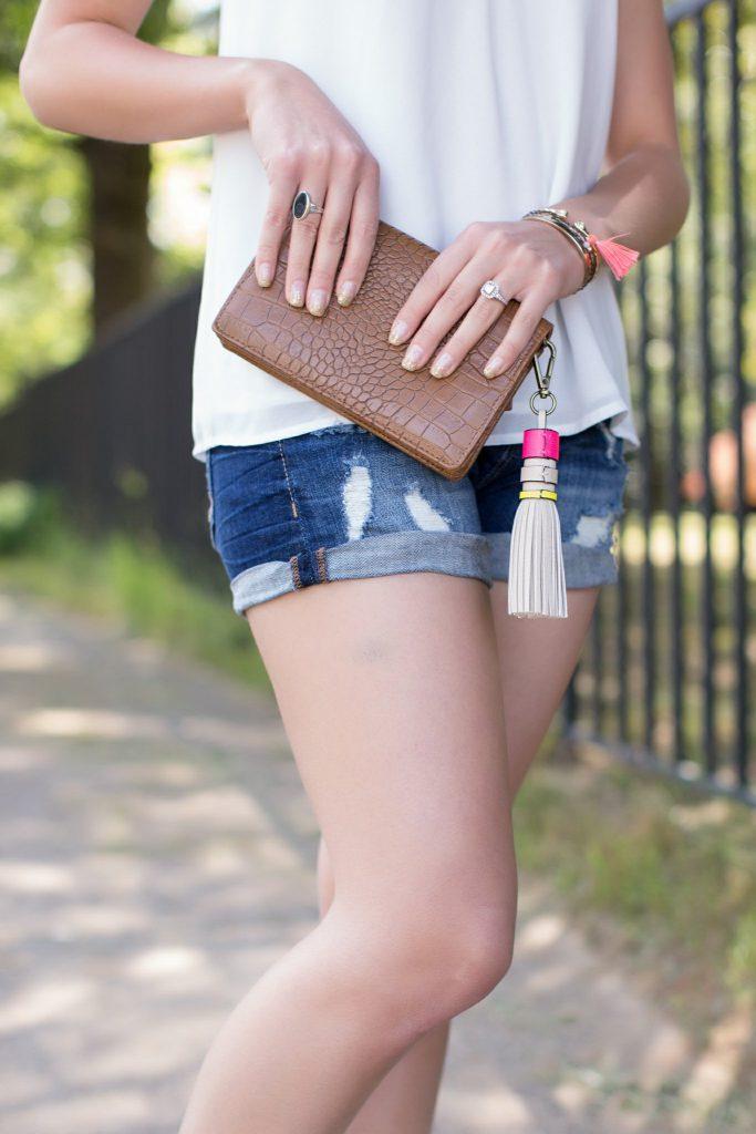 summer sandals, charm sandals, pom pom sandals, steve madden charm sandals, express shorts, cut off denim shorts, white lace up tank, aviator sunglasses, tassel bag charm, downtown raleigh, NC blogger