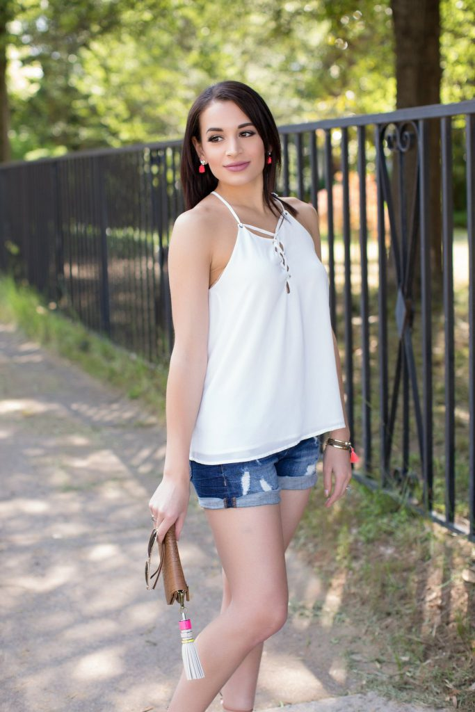 summer sandals, charm sandals, pom pom sandals, steve madden charm sandals, express shorts, cut off denim shorts, white lace up tank, aviator sunglasses, tassel bag charm, downtown raleigh, NC blogger