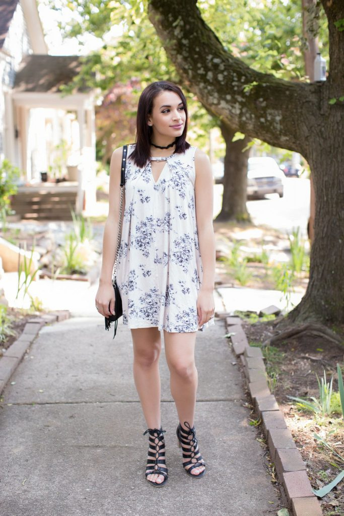 vestique dress, floral dress, blue floral dress, black choker, lace choker, 90's outfit, rebecca minkoff, fringe bag, mini mac, steve madden heels, lace up heels, downtown Raleigh, NC blogger