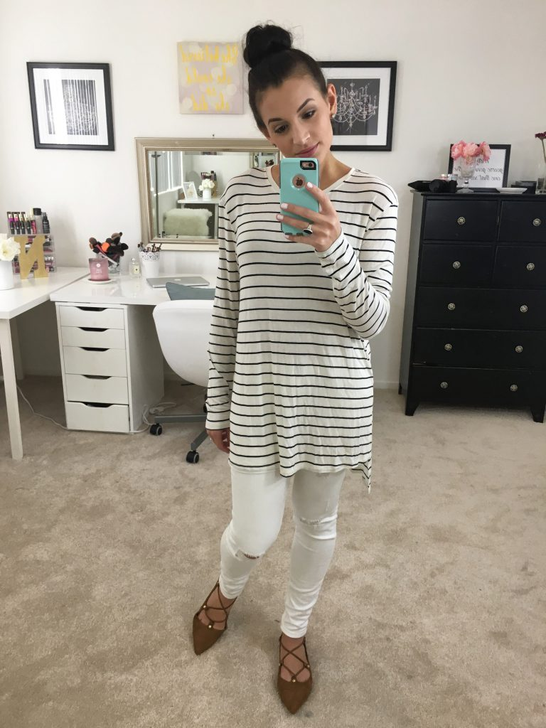 #nsale, n sale, nordstrom, nordstrom anniversary sale, nordstrom haul, nordstrom sale, lush tunic, Vince Camuto 'Abril' Leather Shoulder Bag, vince camuto, Anniversary Sale, Caslon Relaxed Slub Knit U-Neck Tee, 'Owen' Pointy Toe Ghillie Flat, halogen flats, BG brown bag, lace up flats, striped tee outfit
