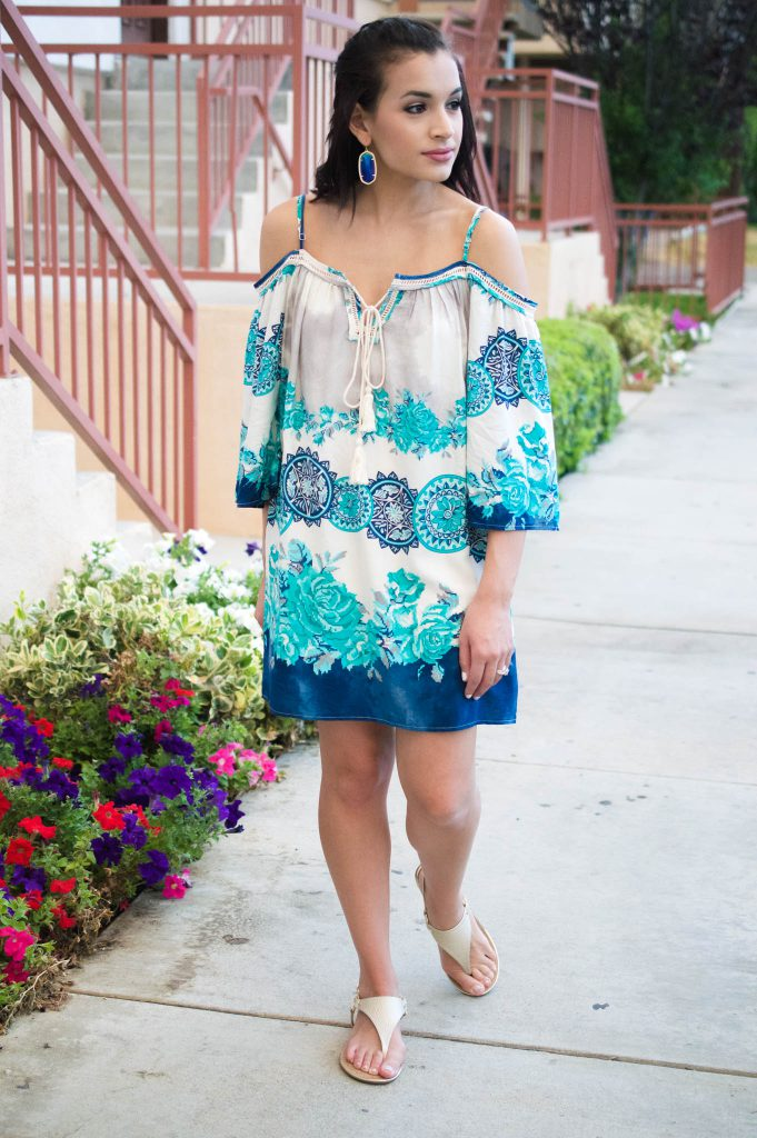 blue off the shoulder dress, madison Raleigh, off the shoulder, off the shoulder dress, kendra scott, kendra scott earrings, target sandals, gold sandals, Los Angeles, Culver City, summer dress, summer outfit, LA outfit