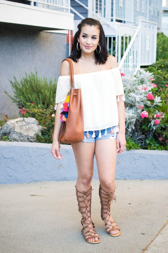 Tassel Top and Gladiator Sandals. off the shoulder top tassel top outfit with tassels denim shorts ...  sc 1 st  Hashtag Fab Life & Tassel Top and Gladiator Sandals