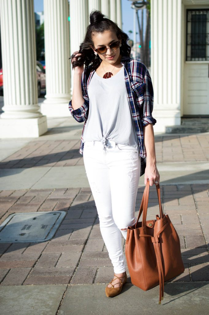 plaid shirt outfit, express plaid shirt, fall 2016 outfit, bauble bar monogram, bauble bar necklace, halogen lace up flats, nordstrom sale, bp brown handbag, white distressed denim, sony studios, downtown culver city, weekend outfit, how to half bun, flat iron curls, LA style blogger
