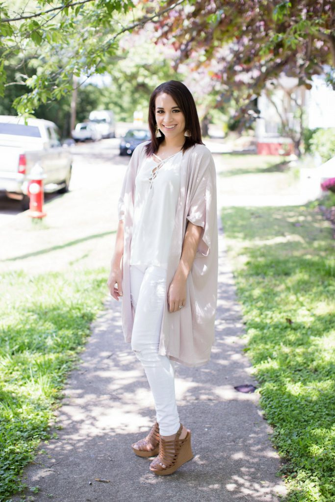 kimono, longline kimono, blush kimono, kimono outfit, lace up white top, express denim, distressed white jeans, wantable earrings, tassel earrings, target wedges, brown wedges, downtown Raleigh, Raleigh blogger