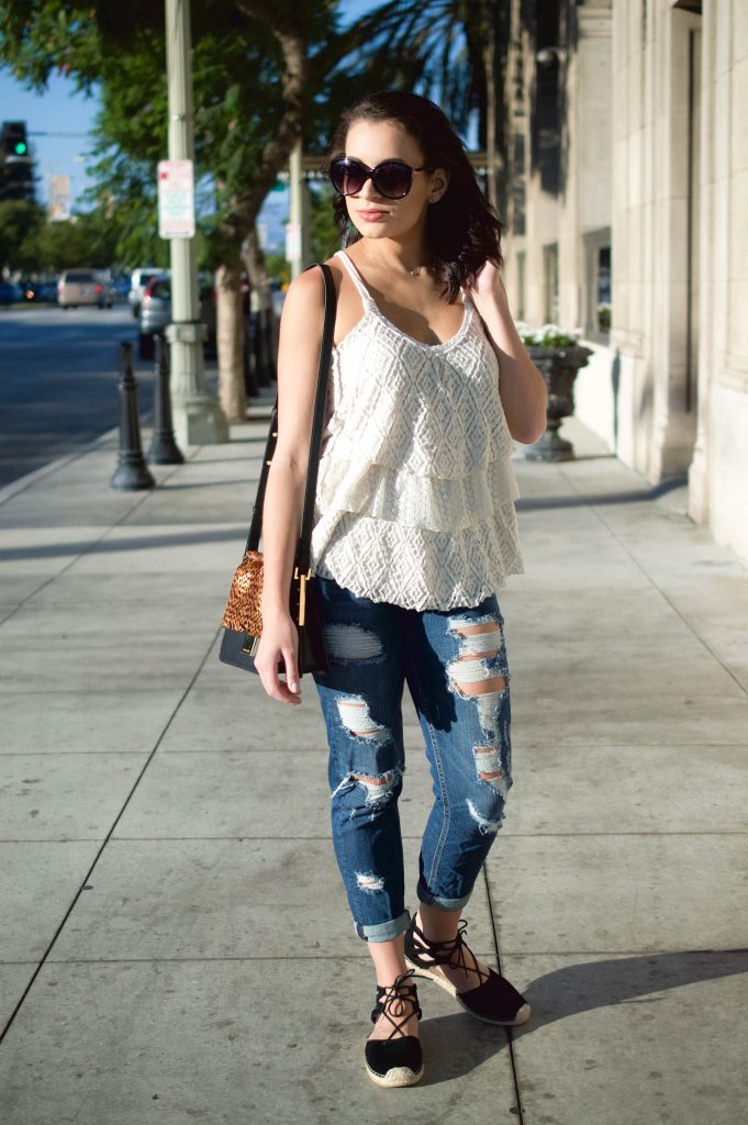distressed denim outfit, cropped ripped jeans, lace up espadrilles, black lace up flats, vince camuto,, abril handbag, white ruffled tank, wantable necklace, Culver City, LA blogger, LA style blogger