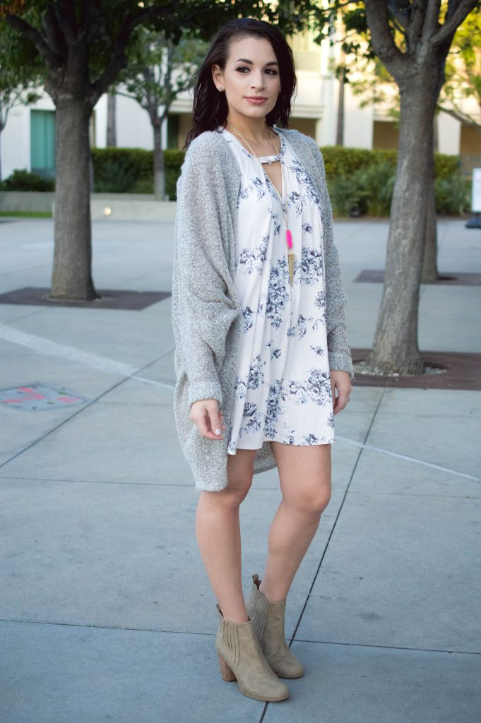 fall floral dress, t shirt dress, neutral fall dress, floral dress, kendra scott, rayne necklace, bp handbag, affordable brown handbag, tan booties, Culver City, LA blogger, fall fashion 2016, fall cardigan, longline cardigan, fuzzy cardigan