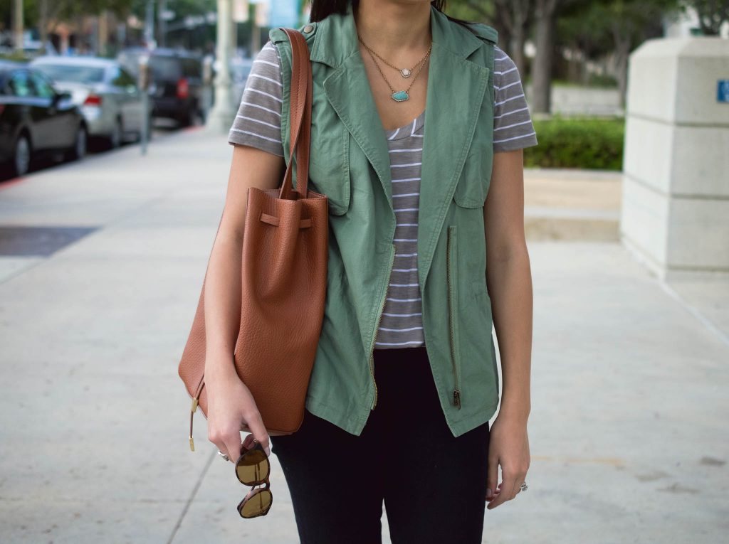 green vest outfit, wantable necklace, wantable accessories box, bp handbag, brown handbag, utility vest, green vest, forever 21 vest, striped tee, nordstrom tee, express black jeans, express jeggings, halogen brown flats, LA style, Culver City