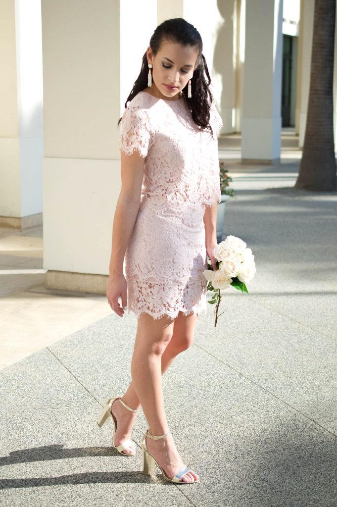 lulus outfit, TURN BACK TIME BLUSH PINK LACE TWO-PIECE DRESS LULUS, lulus, two piece dress, date night outfit, bridesmaids dress, wedding guest outfit, hair extensions, white tassel earrings, gold block heels, lace dress, bodycon dress, lace cut out dress, downtown culver city, summer night outfit
