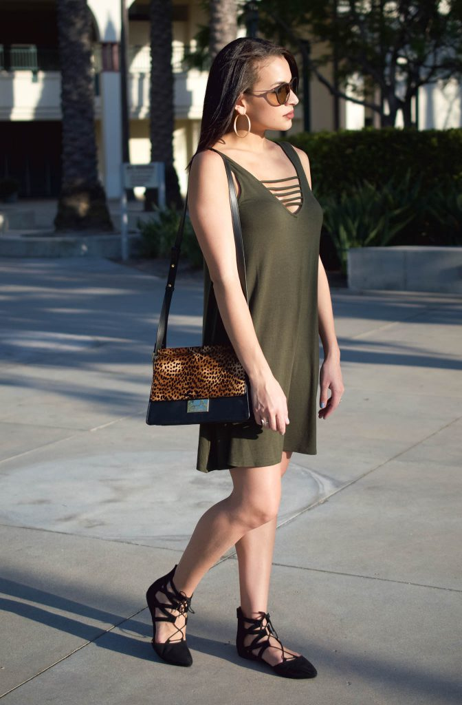 socialite dress, criss cross dress, olive dress, the perfect fall dress, vince camuto, abril handbag, leopard print handbag, lace up flats, the best flats for fall, the perfect flats for under $25, pointed lace up flats