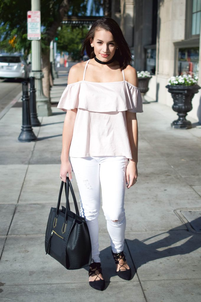 how to wear a choker, pink off the shoulder top, nordstorm fall outfit, white jeans for fall, flats under $25, target black flats, celine bag dupe, black handbag, designer bag dupe, black lace up flats, black choker, how to wear a choker, distressed white denim, LA style, LA blogger