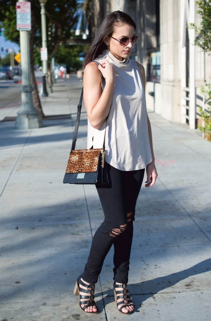 Funnel Neck Tank, leith tank, tank fall tank, fall top, black ripped jeans, express black jeans, vince camuto bag, abril handbag, leopard print bag, aviator sunglasses, lace up heels, steve madden wedges, black chunky heels, LA blogger, LA style
