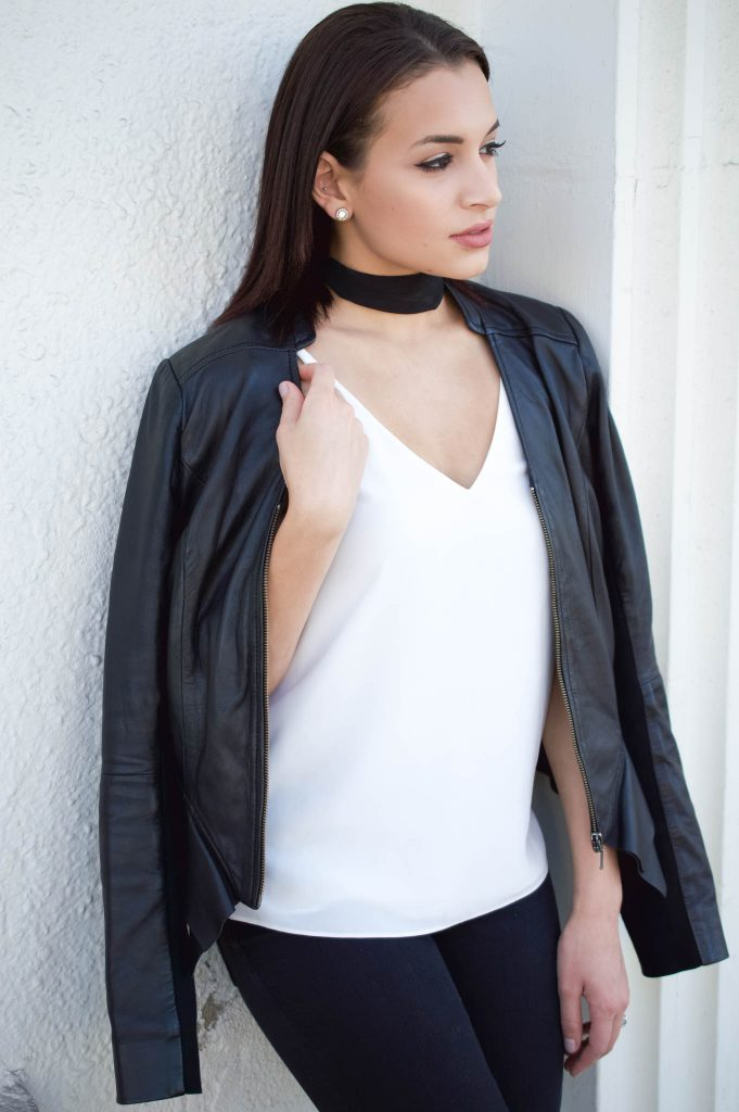 leather jacket outfit, nordstorm leather jacket, fall leather jacket, besut fall jacket, how to style a leather jacket, leather jacket and choker, fall grey booties, ripped jeans and leather