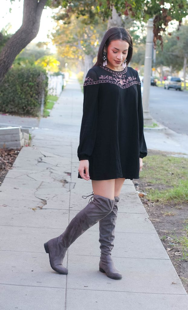 black floral dress, black babydoll dress, bauble bar earrings, pink tassel earrings, OTK boots, grey suede boots, over the knee boots, Culver City, College fashion week, LA style, LA blogger