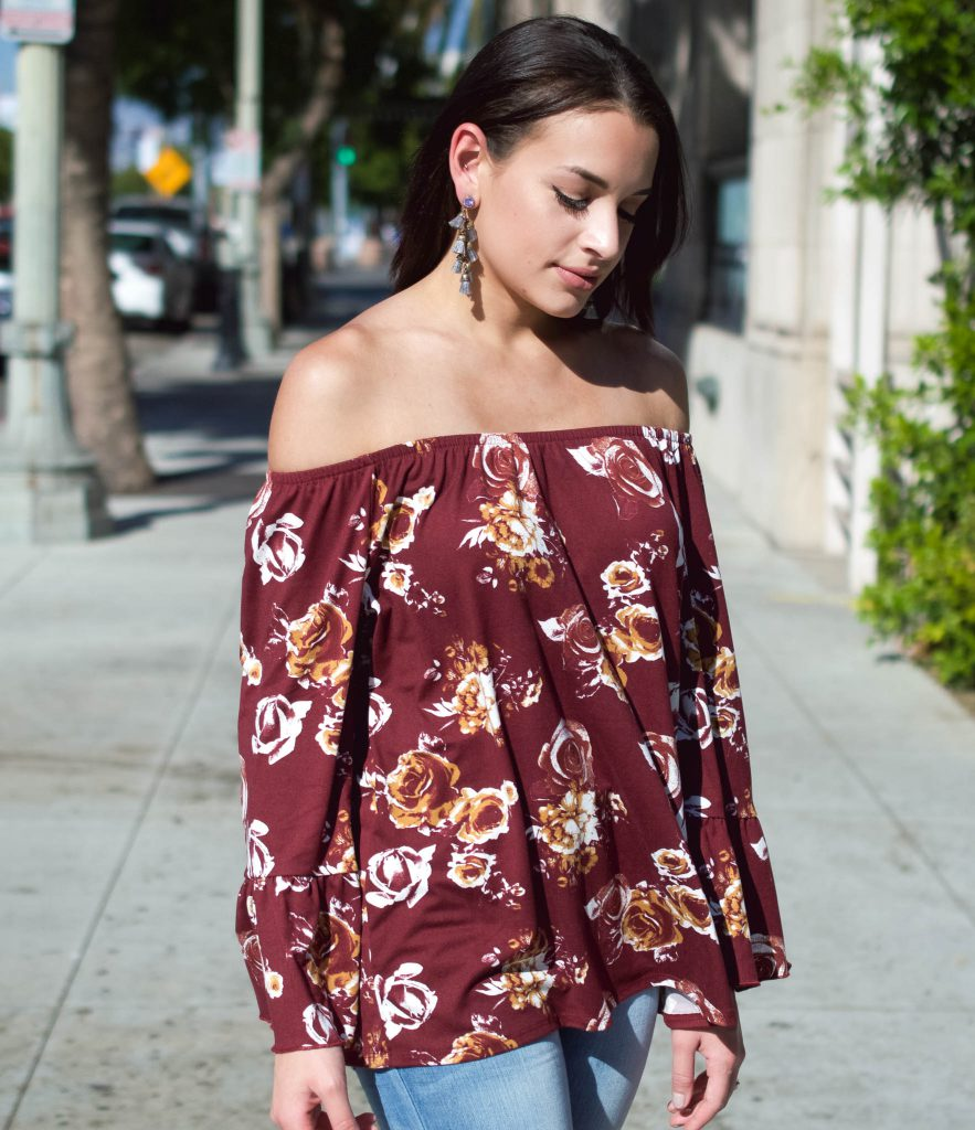 heavenly couture, LA style, fall floral print, fall off the shoulder top, express light wash jeans, halogen lace up flats, culver city, bauble bar