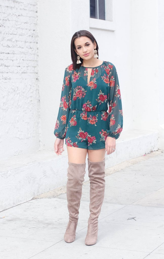 96d28708b24b Forever 21 Floral Romper and Over the Knee Boots