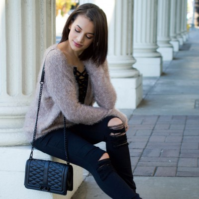 lace up sweater, express lace up sweater, fuzzy sweater, black ripped jeans, love crossbody, rebecca minkoff