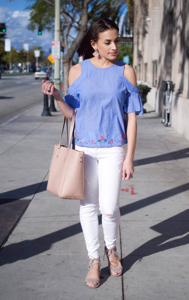 37e76719890953 Embroidered Cold Shoulder Top