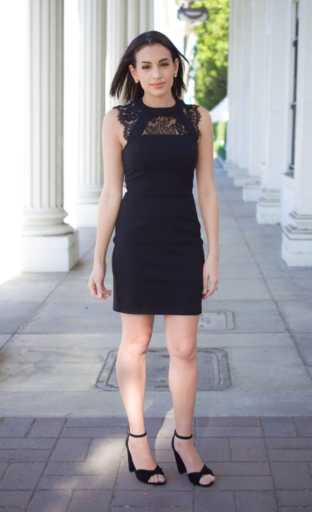 black dress for spring, little black dress, black lace dress, express dress, steve madden heels