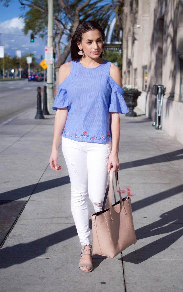 Embroidered Cold Shoulder Top, flutter sleeve blouse, spring outfit, sugarfix by baublebar, spring outfit 2017