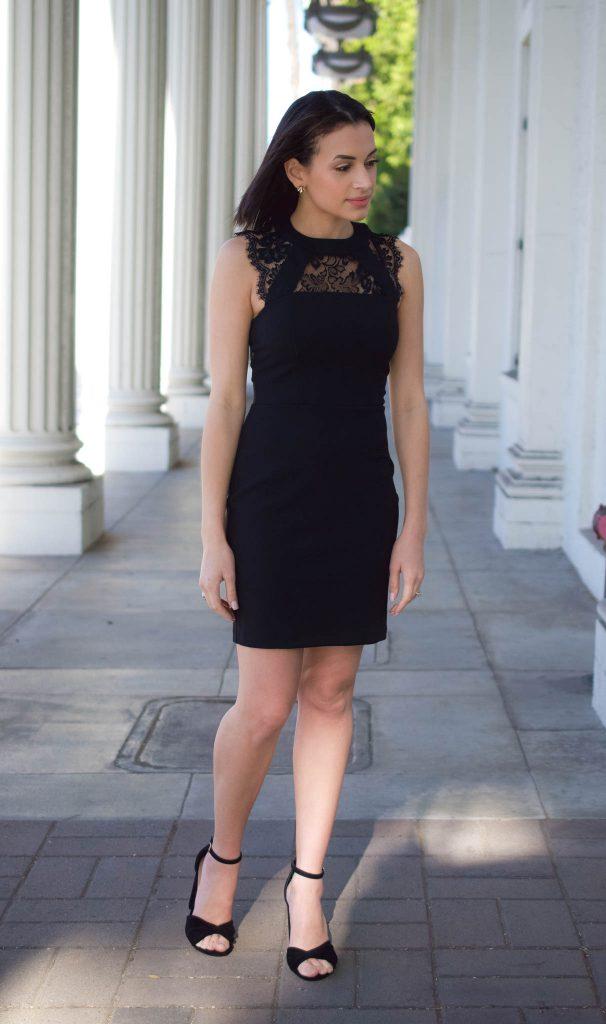 black dress for spring, little black dress, black lace dress, express dress, steve madden heels
