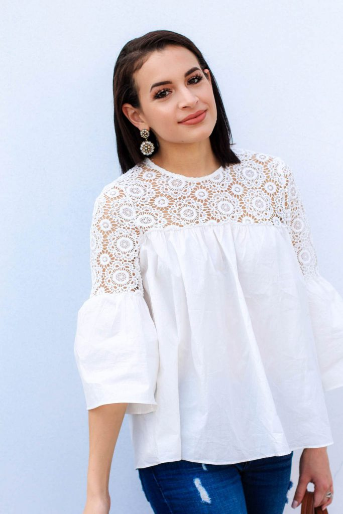 white embroidered top, chicwish top, white top for spring, bell sleeve top, sugarfix baublebar