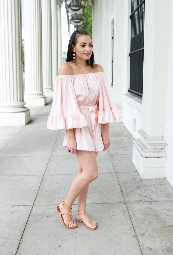off the shoulder pink romper