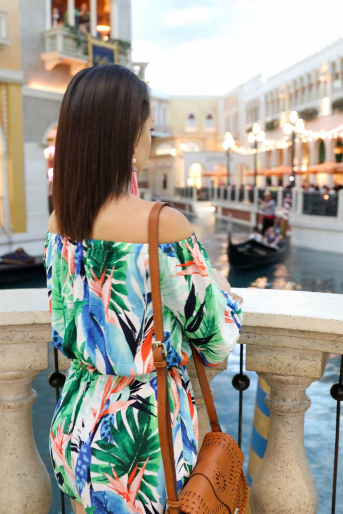 tropical print off the shoulder romper