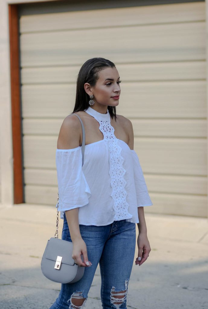 Crochet Off the Shoulder Halter Top