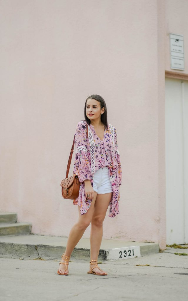 pink floral tunic