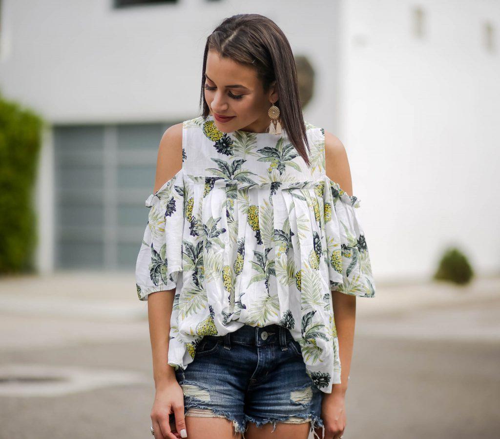 cold shoulder pineapple print top