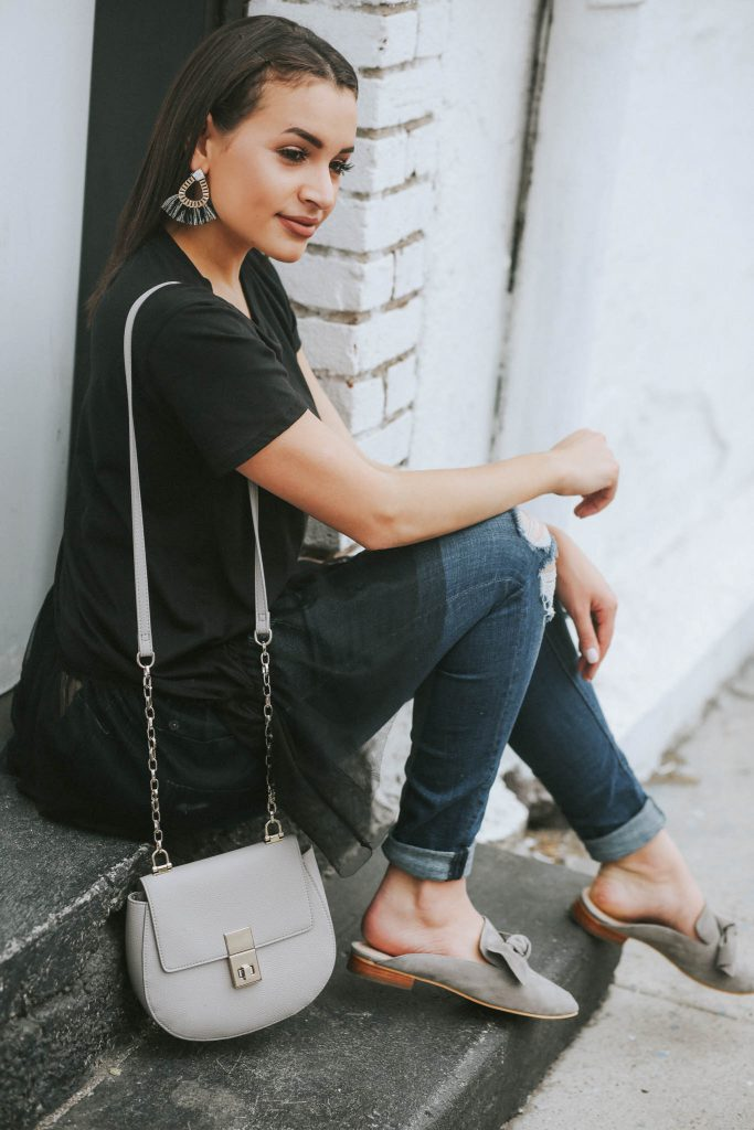 tulle top, bow mules
