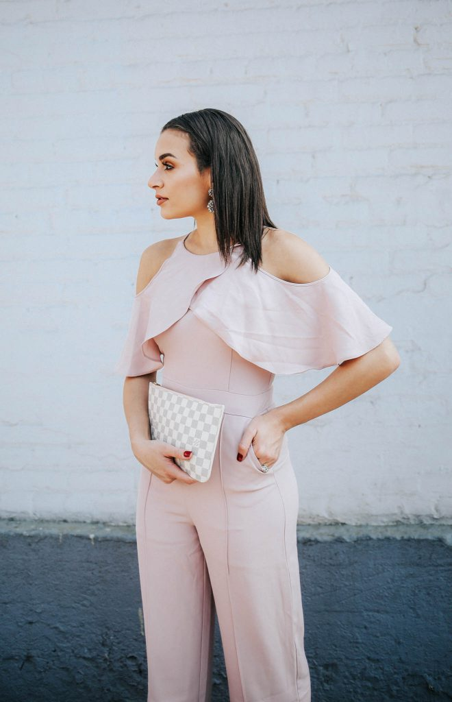 pink cold shoulder jumpsuit