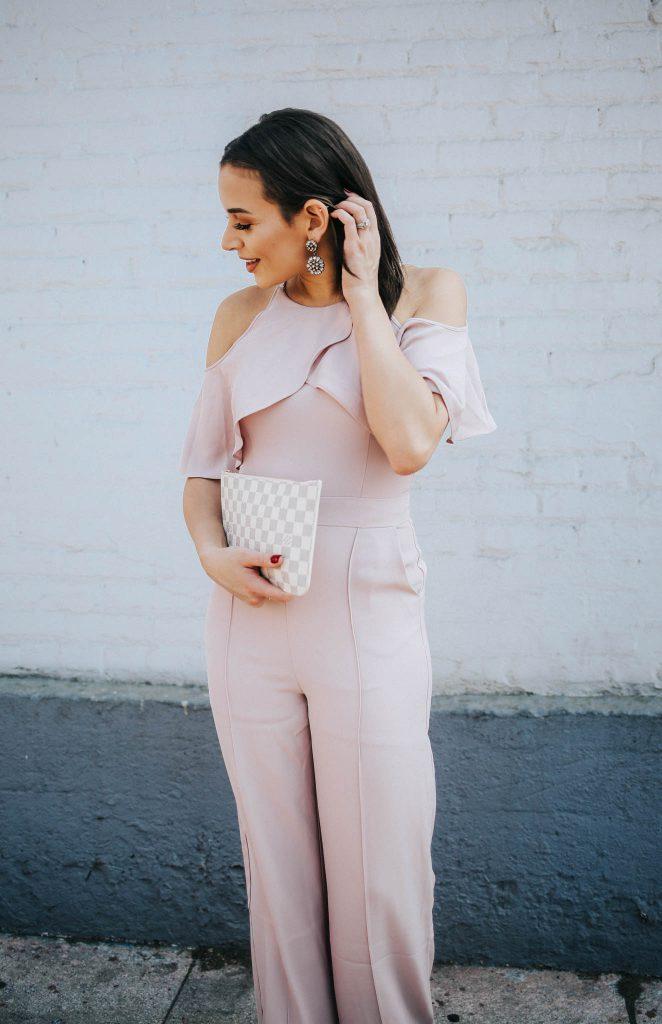pink cold shoulder jumpsuit