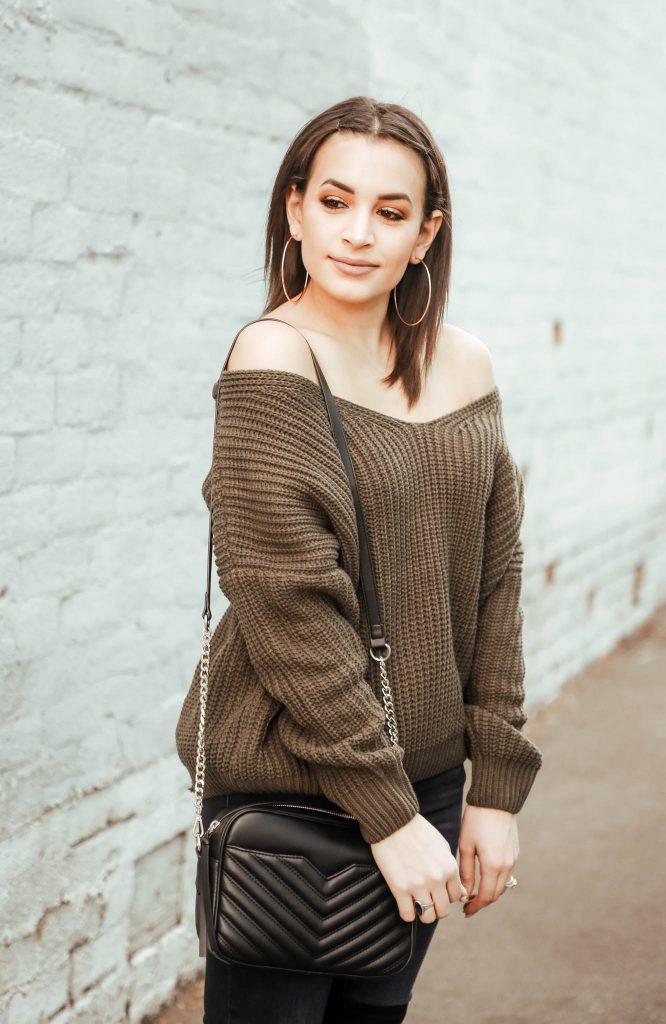 Olive off the shoulder sweater