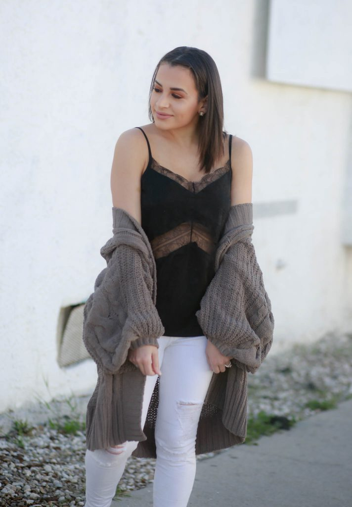 lace cami and oversized cardigan